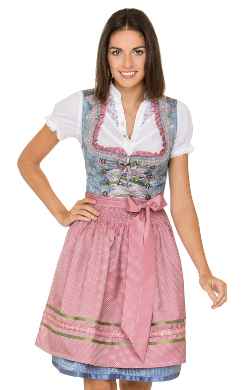 German Mini dirndl 2pcs. Cala blue pink 55 cm