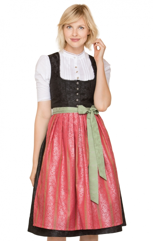 German Midi dirndl 2pcs. Mirelle black red 70 cm