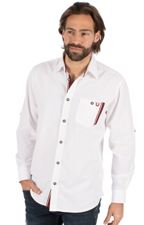 German traditional shirt long sleeve FRITZ white bordeaux