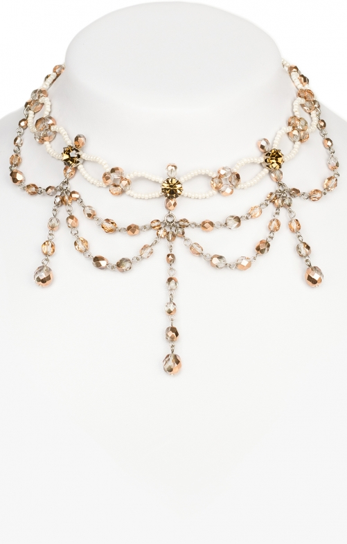 Glass pearls collier 12223 natur