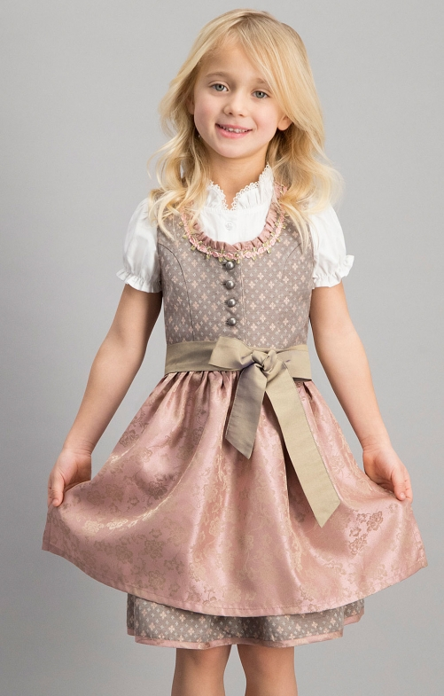 Traditional Children dirndl 3 pcs. SIMI taupe pink