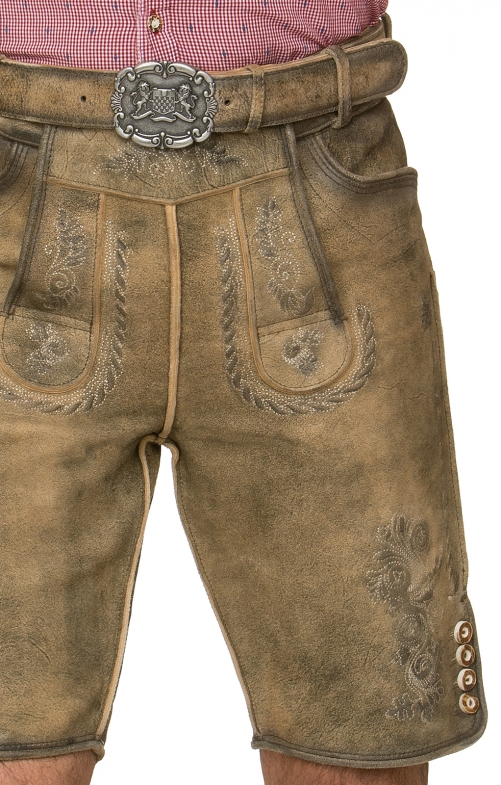 German leather trousers with belt THOMAS korn brown