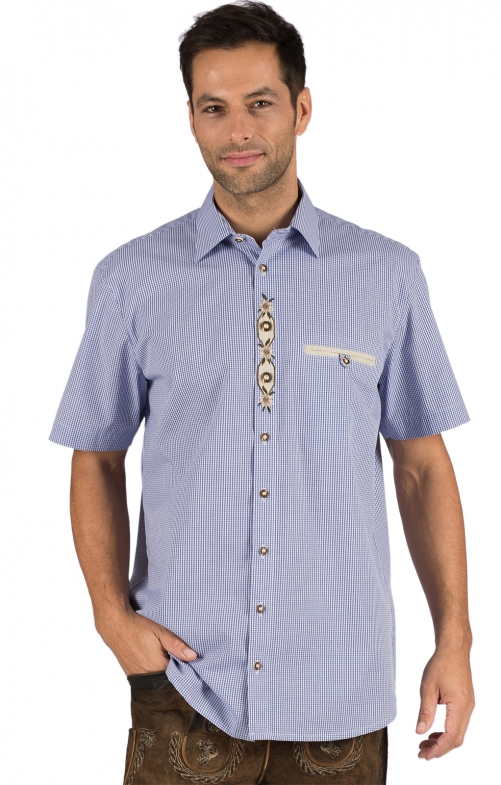 German traditional shirt arms short FRANK blue