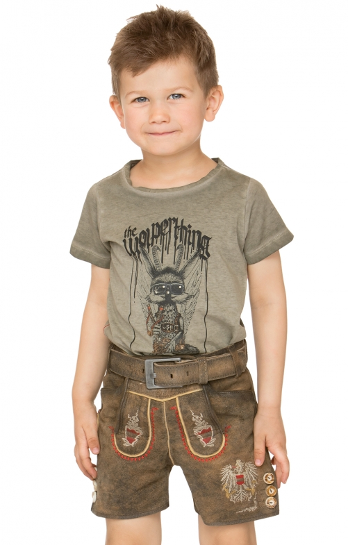 Chlidren leather trousers short Austria JR brown