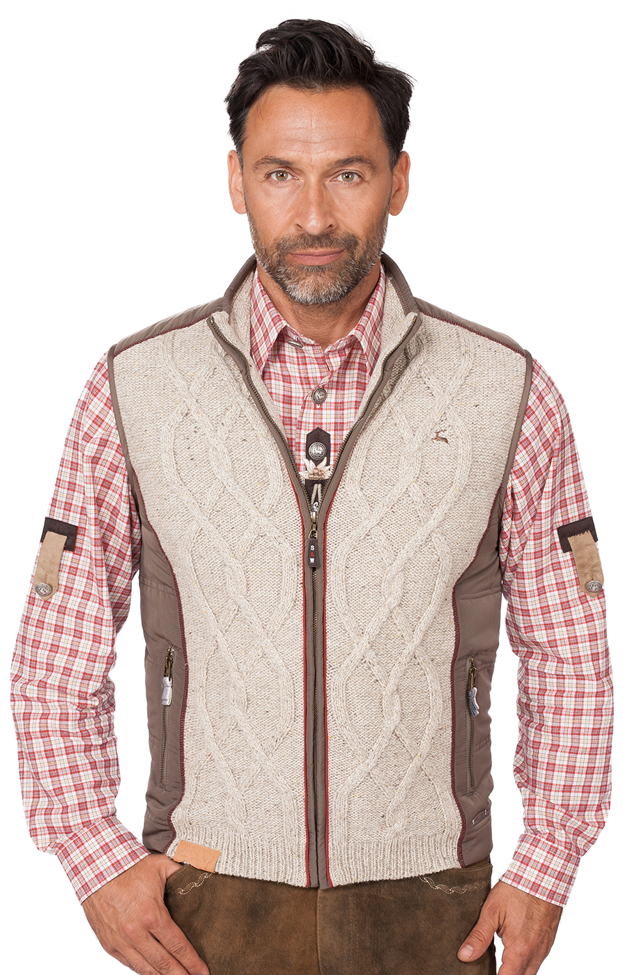 weitere Bilder von German knitted waistcoat Franko nature light brown