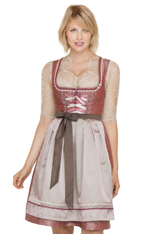 German Mini dirndl 2pcs. Felicia pink blue 60 cm