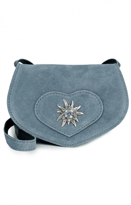 Traditional leather bag with heart TA30110-9196 gray blue
