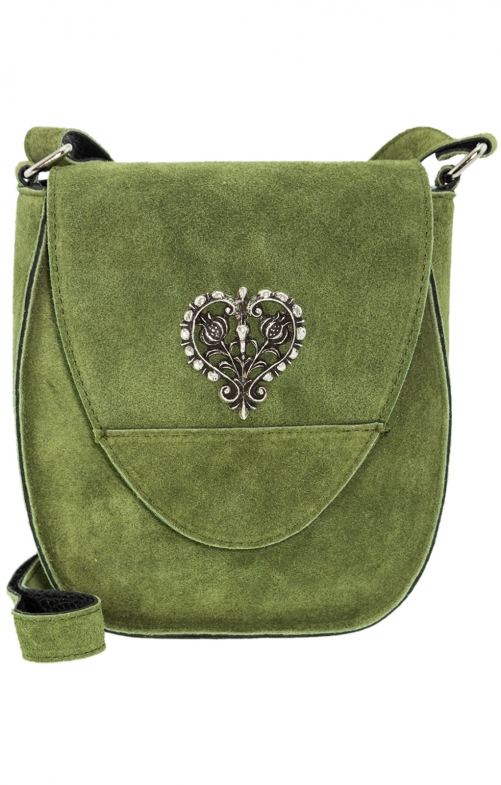 Traditional leather bag with heart oliv