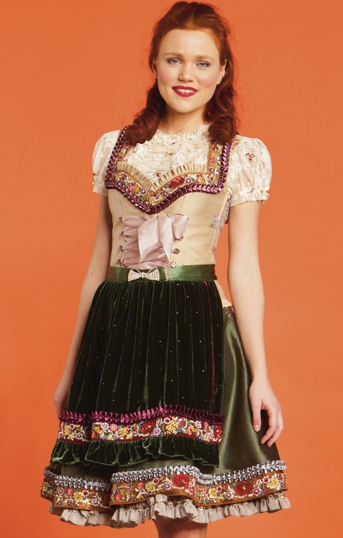 Traditional skirt with apron Lola Paltinger SHANNON green