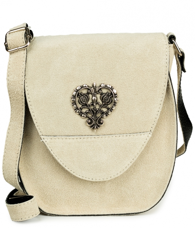 Traditional leather bag with heart TA30410-8525 natur