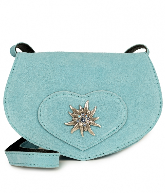 Traditional leather bag with heart blue