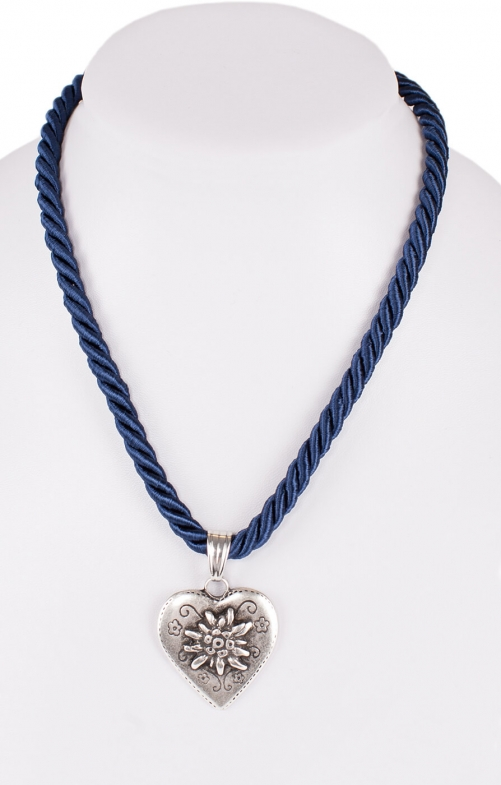 Traditional necklace cord heart K100-8144 marine