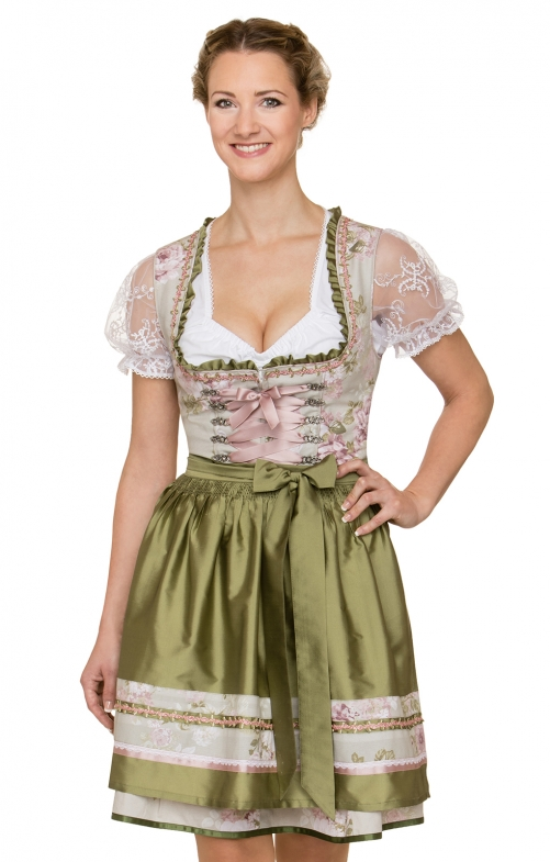 German Mini dirndl 2pcs. Lara brown green 50 cm