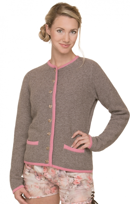 Traditional Cardigan CARO truffle-rose
