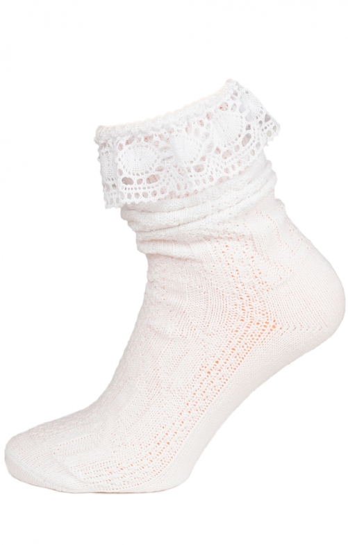 Traditional socks with lace CS530 white