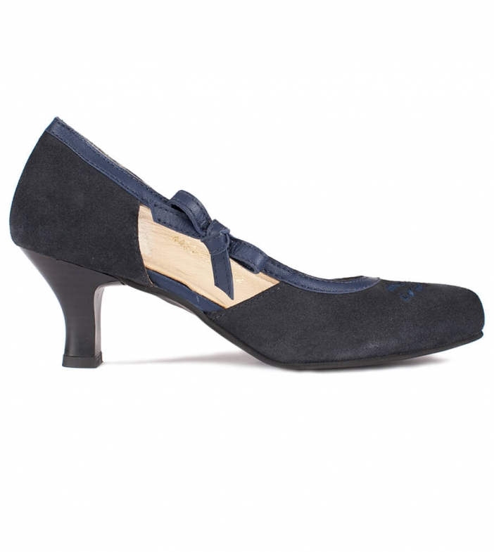 Traditional dirndl shoes D443 Valeska Pumps Navy