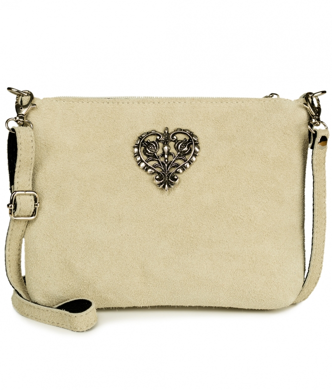 Traditional leather bag with metal heart TA30540-8525 natur