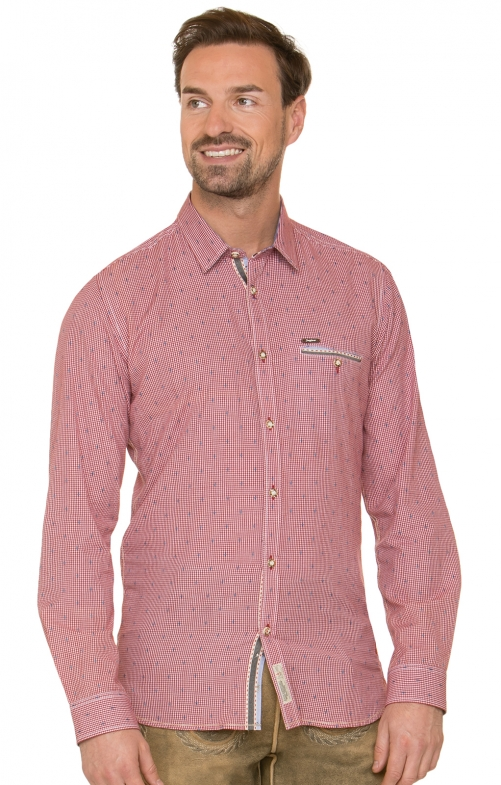 German traditional shirt long sleeve Taylor red