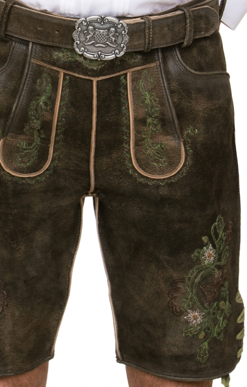 German leather trousers with belt Aron brown green