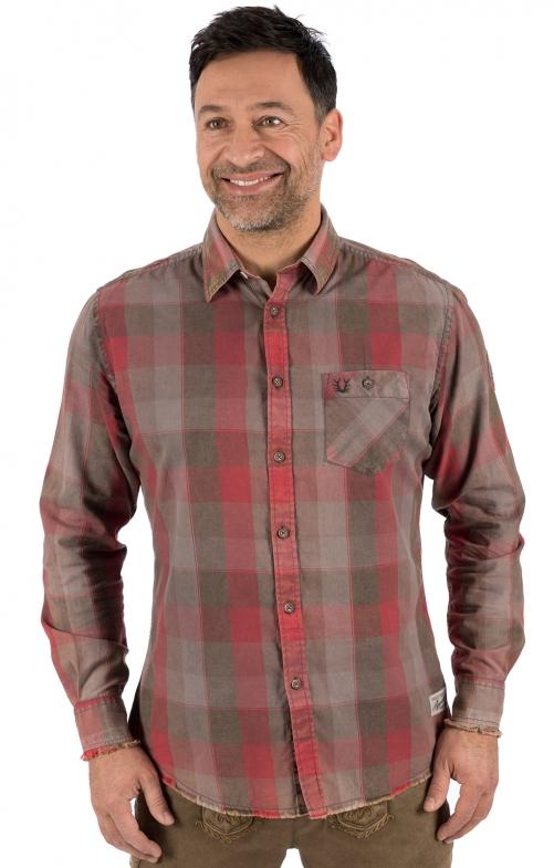 German traditional shirt long sleeve OLAF red
