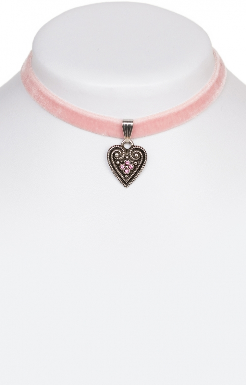 Traditional necklace with heart 9197-SB pink