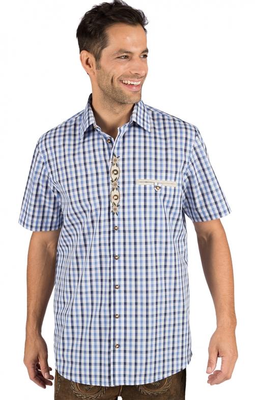 German traditional shirt arms short MARIO blue beige