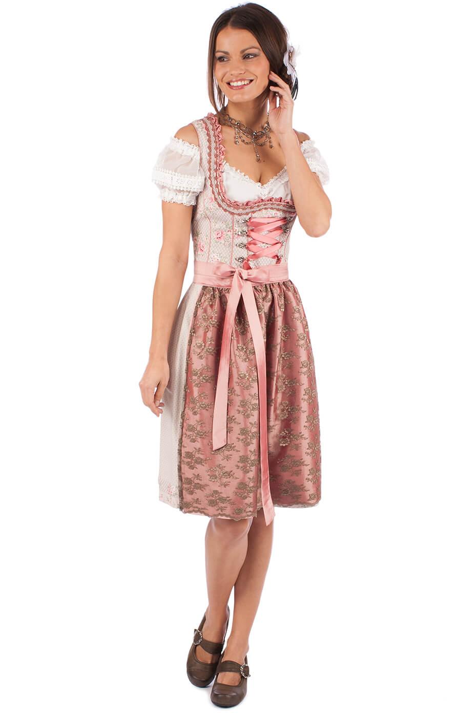 Minidirndl Grace2 2tlg. 58cm braun altrosa von Marjo