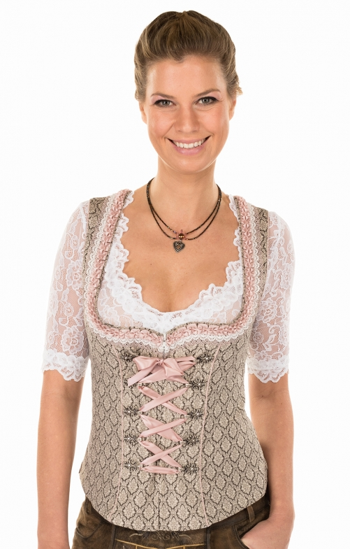 Traditional dirndl corsage 35541-715brown