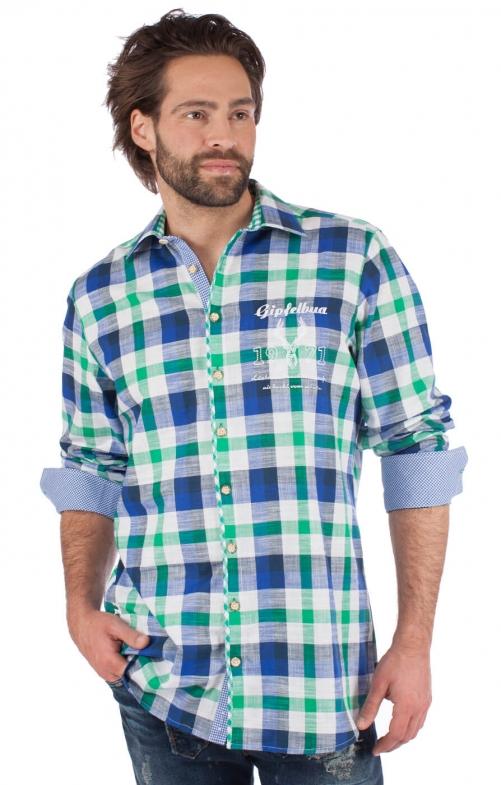 German traditional shirt 920001-3259-564 green blue