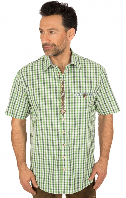 German traditional shirt short arms green