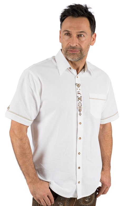 German traditional shirt arms short MIKE white