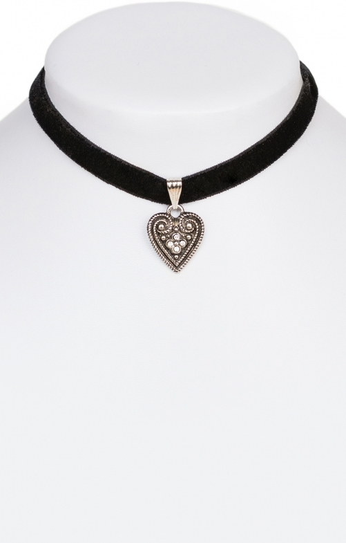 Traditional necklace with heart 9197-SB black