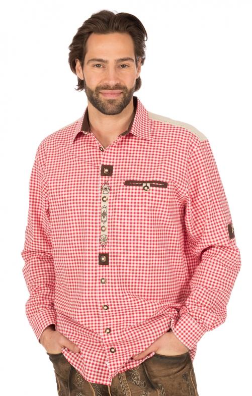 Trachtenhemd Krempelarm Karo weiss rot