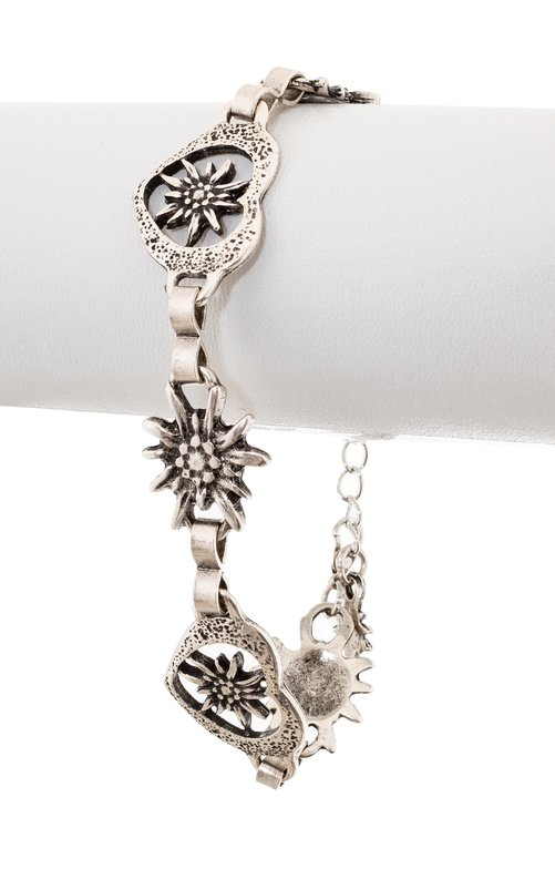 Bracelet AB7002 oldsilver edelweiss and heart