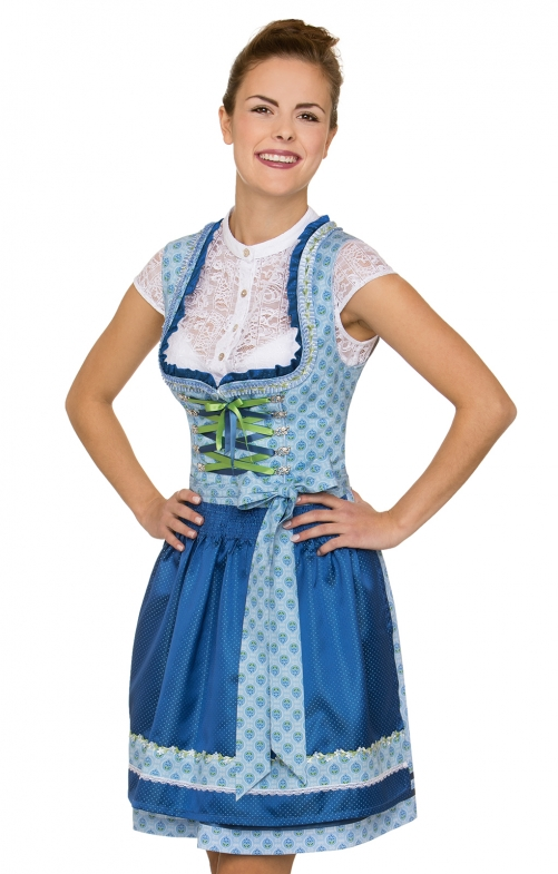 German Mini dirndl 2pcs. Sara blue 50 cm