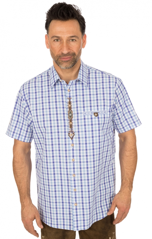 German traditional shirt short arms blue