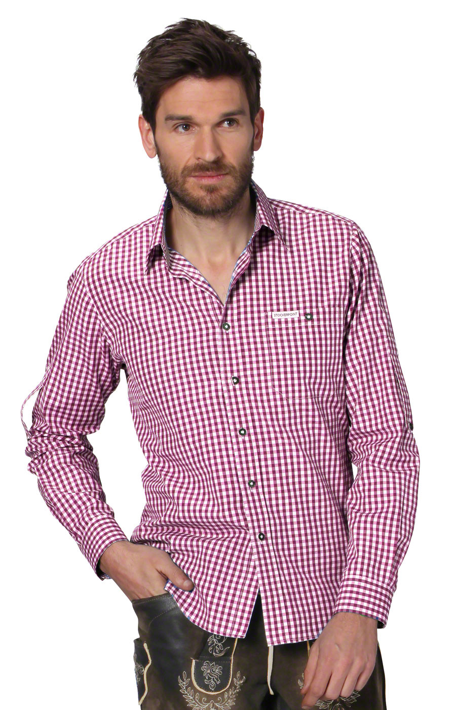 German traditional shirt checkered Campos2 bordeaux von Stockerpoint