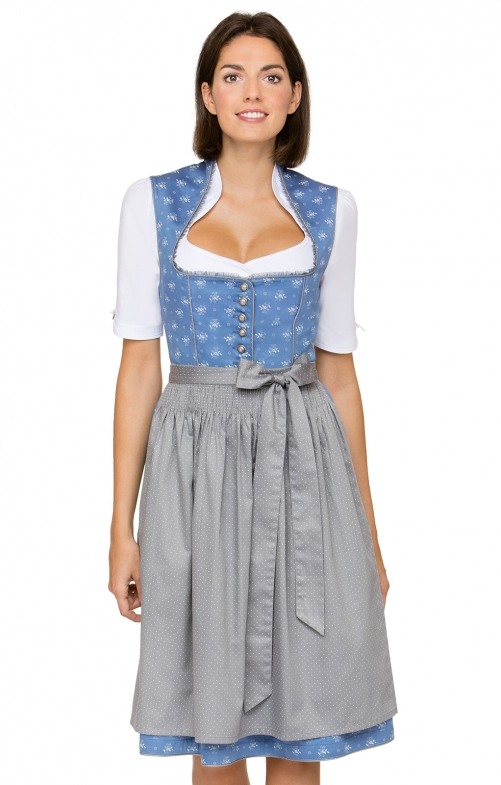German Midi dirndl 2pcs. Lavinia blue black 65 cm