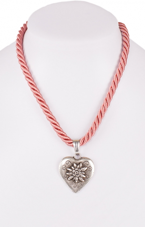 Traditional necklace cord heart K100-8144 oldrose