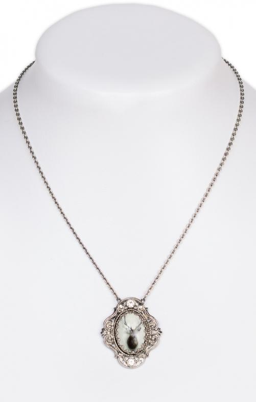 Necklace pearl with Swarovski white