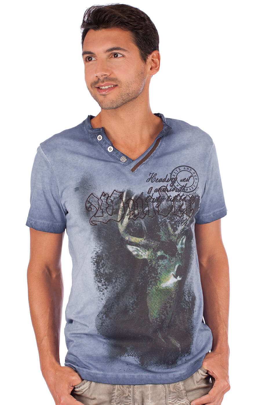 Traditional German T-Shirt Uberto blue von Marjo