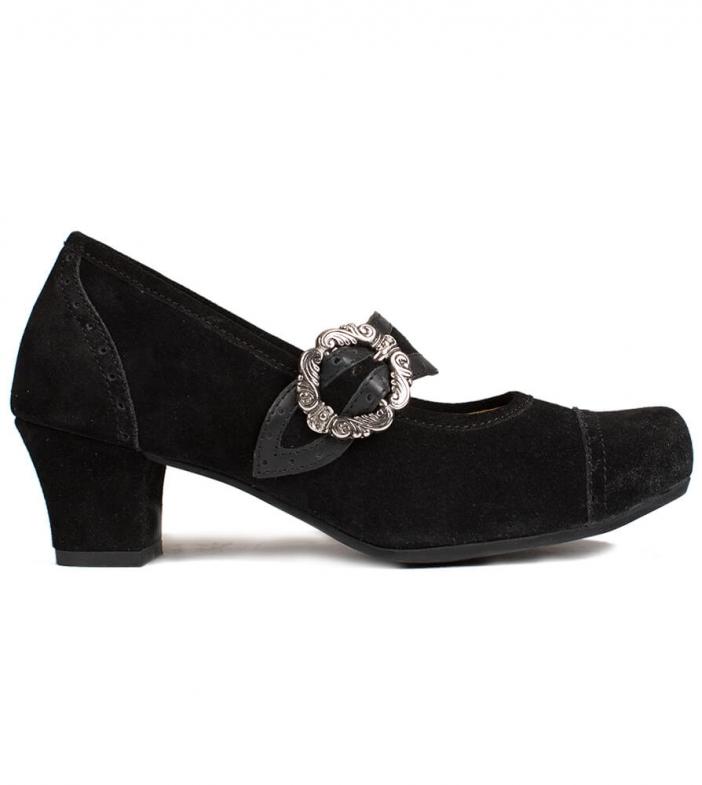 Traditional dirndl shoes D418 Clara Pumps black