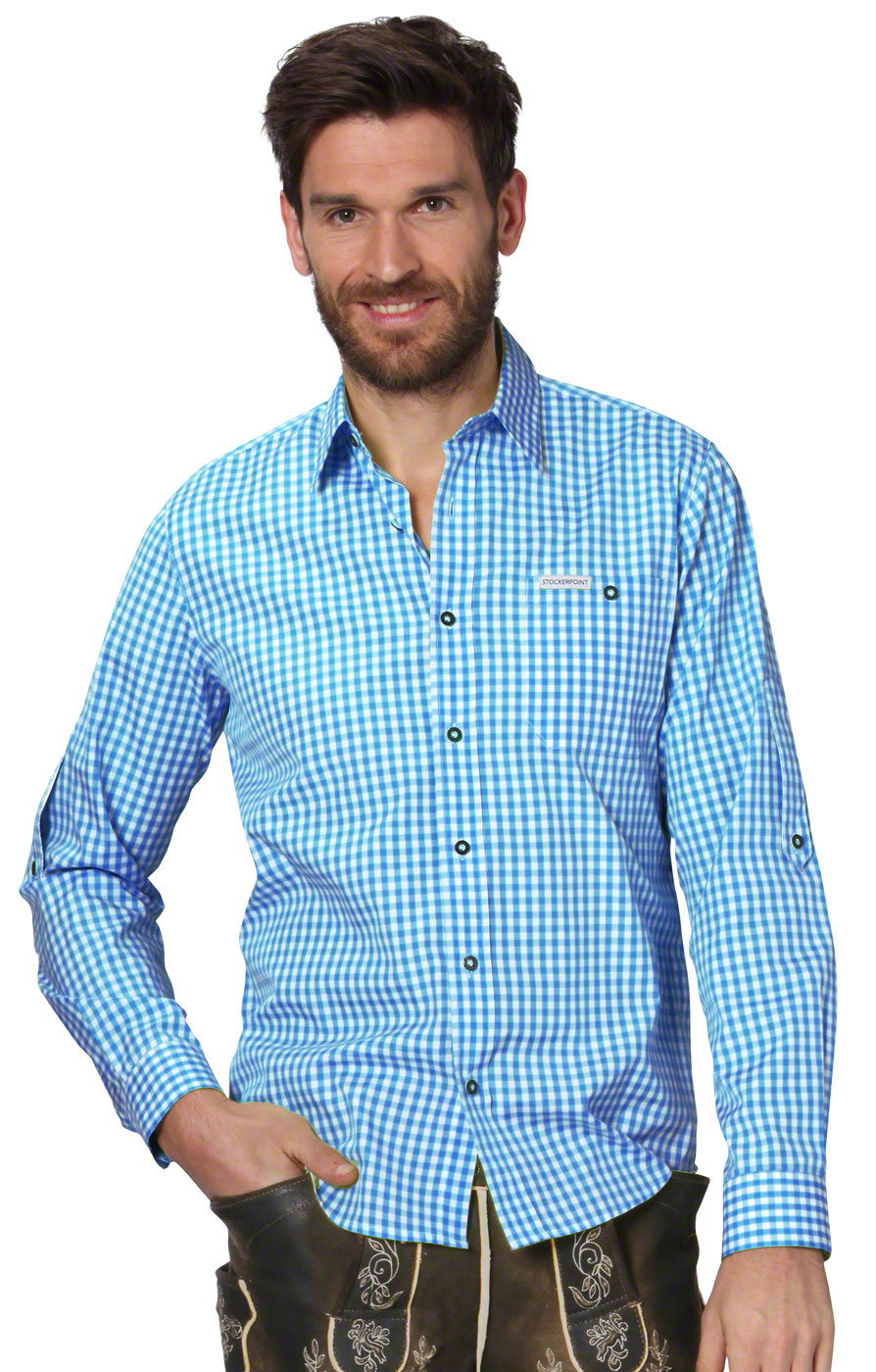 German traditional shirt checkered Campos2 turquoise von Stockerpoint