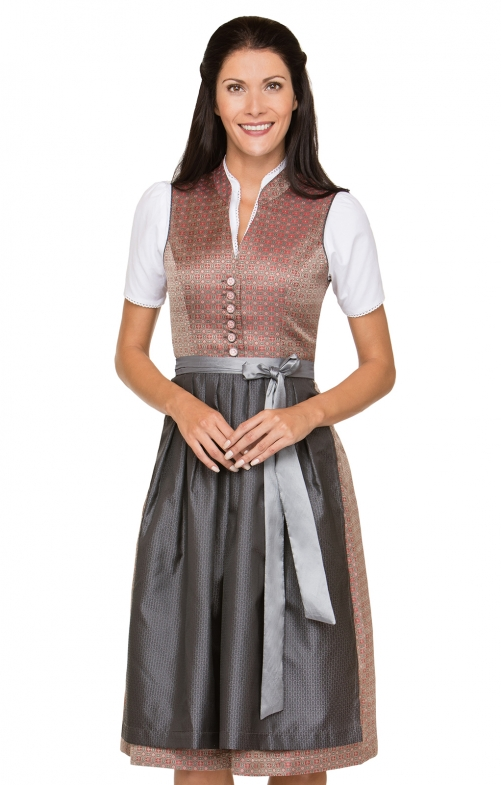 German Midi dirndl 2pcs. Florina red black 70 cm