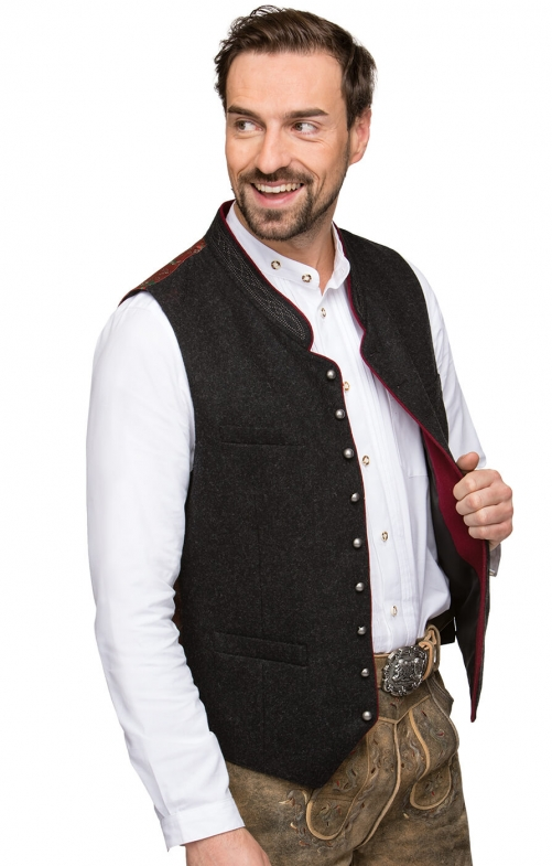 Traditional waistcoat CLEMENS gray/red