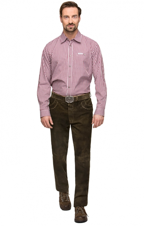 German leather trousers long ROCO3 bison