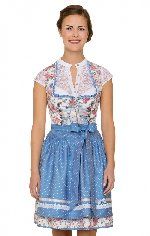 German Mini dirndl 2pcs. Saskia blue 50 cm