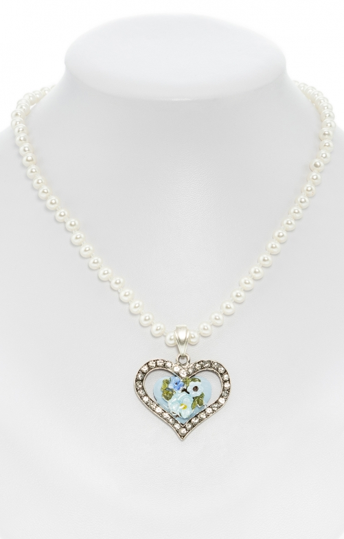 Pearl necklace with heart pendant blu