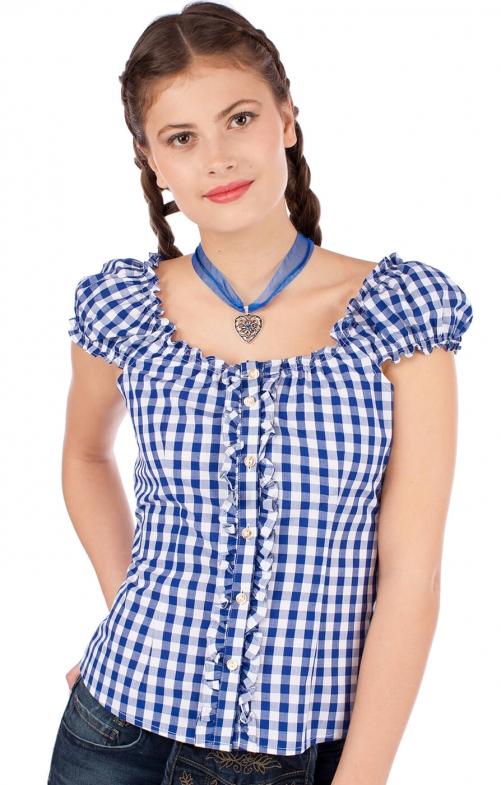 Trachten blouse 262-CO jeans blue