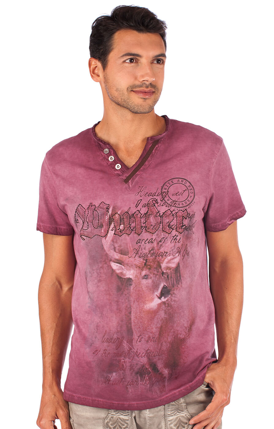 Traditional German T-Shirt Uberto burgund von Marjo